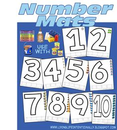 FREE! number mats are a fun way for kids to practice math worksheets using fun manipulatives like playdough, stickers, and more for  preschoolers, toddler, kindergarten