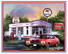 Muscle car art print Road Warrior handsigned and by Retroartist