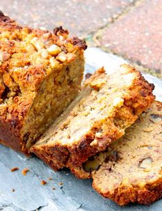 Vegan and Gluten-Free Banana Bread - Great British Chefs - note: sub honey with sweetener of choice! Gluten Free Banana Bread, Vegan Banana Bread, Easy Banana Bread, Banana Bread Recipes, Almond Recipes, Baking Recipes, Uk Recipes, Apple Bread, Vegetarian Recipes