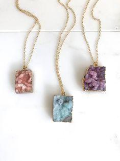 drop necklace Flower gold necklace boho ceramic necklace porcelain bridesmaid necklace quartz statement jewelry unique gift for her