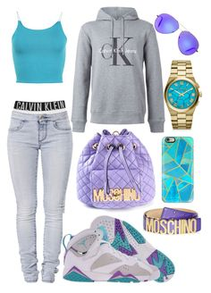 """Calvin Moschino Klein"" by neilaninewsome ❤ liked on Polyvore featuring Calvin Klein, 7 For All Mankind, Retrò, WearAll, Moschino, Casetify, Michael Kors and Victoria Beckham"