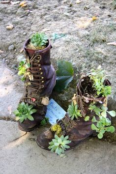 old laced up boot planters