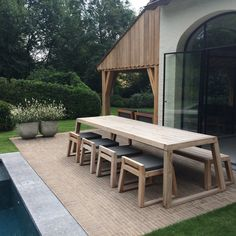 SIL teak garden set 300 cm with low chairs - SIL teak tuinset 300 cm met lage stoelen Garden table SIL with bench and stools from the collecti -
