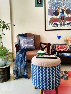 Upholstered ottomans and other furniture in gorgeous Indian fabrics: Sihasn Decorating Blogs, Interior Decorating, Best Interior Design Blogs, Indian Interiors, Indian Fabric, Upholstered Ottoman, Indian Home Decor, Handmade Shop, Warm And Cozy