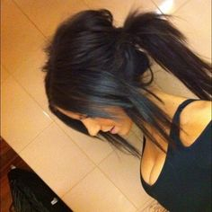 teased ponytail. i love this, and I love the color...maybe this color after i get sick of the ombre im about to get