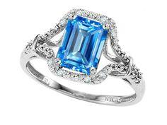Original Star K Emerald Cut 8x6mm Genuine Blue Topaz Ring