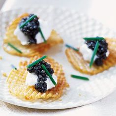 Gaufrette Potatoes with Caviar and Creme Fraiche
