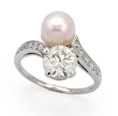 A Natural Pearl and Diamond Ring, Cartier, circa 1925