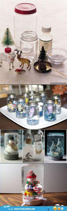 Mason jar snow globe!