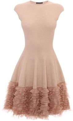 Alexander McQueen Tonal Lace Knit Ruffle Dress on shopstyle.com