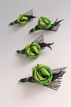 'Pod' style buttonholes using the flax seed pods. Please note buttonholes with seed pods can only be delivered within NZ. www.flaxation.co.nz