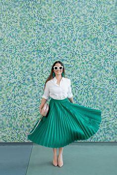 Green Satin Pleated Midi Skirt