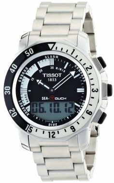 Tissot Men's T0264201105100 Sea Touch Quartz Chronograph Touch Screen Black Dial Watch Tissot. $758.00. •Stainless steel round case•Stainless steel bracelet•Black dial•Case diameter: 44.6 mm•Water-resistant to 330 feet (100 M)