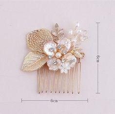 Flower Hair Piece Bridal Haircomb Gold Hair Clip by ItsSoClutch