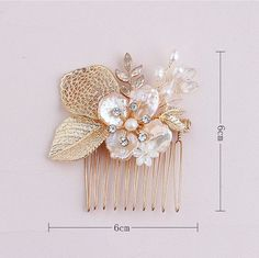Flower Hair Piece Bridal Haircomb Gold Hair Clip by ItsSoClutch