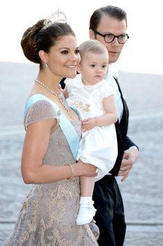 (L-R) Crown Princess Victoria of Sweden, Princess Estelle of Sweden and Prince Daniel of Sweden attends the Swedish Royal wedding at the Royal Palace on 8 June 2013