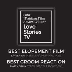 We are incredibly humbled and SO honored to announce that we won not one but TWO awards in the Love Stories TV Wedding Film Awards last night during a live awards show in New York City! We took top honors in the Best Groom Reaction category (Matt  Ginny) as well as the Best Proposal Save the Date or Elopement category (Joe  Kayse). We are still in shock that we were selected but we also know that it's because of YOU (our fans friends and clients) that this is possible. We posted a link in…