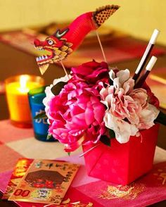 handmade home decorations and flower arrangements for chinese new year celebration