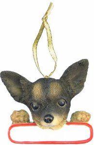 Chihuahua Tri-Color Dog Santa's Pal Christmas Ornament,$13.74