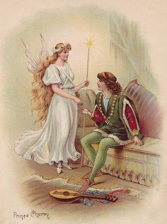 Prince Cherry, Vintage illustration | While hunting, a King rescued a rabbit who was actually a fairy in disguise, and in return for his kind heart, the Fairy Candide offered the King a choice of gifts. Being wise, the King decided he wanted his son to be a good man rather than anything else. The fairy promised to point out the Prince's faults and punish him for them...