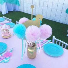 Conjunto algodón de azúcar rosa y azul PREMIUM tul Pom Pom