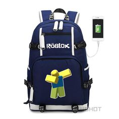 Roblox Kids Boys Children backpack for teenagers Fashion School Bag travel  with USB Charging Port Adolescents e4364fc655de7