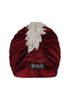 TFHB Red Velvet Turban with Silver Sparkle Leaf Applique