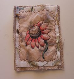 Pencil and Sharpie pens. Stitched to fabric background.  by Judith A. Ferguson