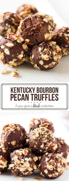 Derby Pecan Truffles Pecan truffles are the perfect no-bake dessert for the Kentucky Derby, Thanksgiving or Christmas! These bite-sized treats taste like chocolate pecan pie. Smores Dessert, Dessert Party, Tiramisu Dessert, Dessert Haloween, Party Desserts, Desserts Nutella, No Bake Desserts, Delicious Desserts, Baking Desserts