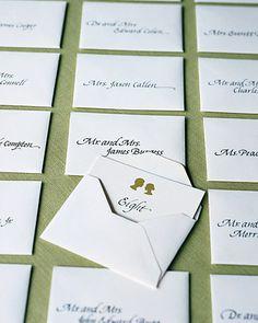 Envelope seating cards.  Name on envelope, table on inside.