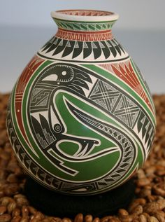 Mata Ortiz pottery by Martin Olivas Quintana. Native American Pottery, Native American Artists, Ceramic Pottery, Pottery Art, Indian Ceramics, Vases, Pots, Pueblo Pottery, Snake Design