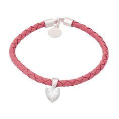Pulsera de cuero rosa y circonita corazón. Beautiful pink bracelet.  #jewelry #jewellery