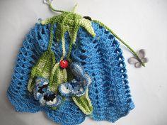 Cotton Beanie in Blue Bell  Butterflies Ladybird by ninellfux