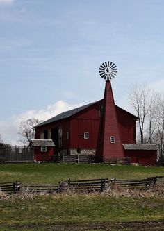 Old Red Barn...and unusual windmill.