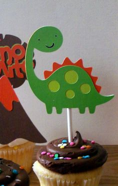 Dinosaur Cupcake Toppers  birthday party or baby by ThePaigeSpot, $12.00
