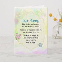 Dear Mommy, Thanks.