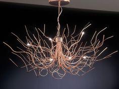 Contemporary chandelier / chrome / copper / halogen - SAGGINA - iconeluce.com