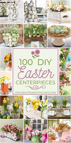 100 Best DIY Easter Centerpieces Brighten up your dining room table this Spring with one of these beautiful DIY Easter centerpieces like spring floral arrangements or Easter egg tablescapes Easter Dinner, Easter Party, Easter Crafts, Holiday Crafts, Easter Ideas, Spring Crafts, Easter Table Decorations, Easter Centerpiece, Easter Table Settings
