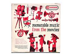 "Jim Flora record album design 1956. ""Memorable Music from the Movies"" LP (magenta colorway)"
