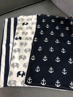 Baby Burp cloths Baby Boy Set of 3 Navy blue white Bebê Artesanal 355432ca383