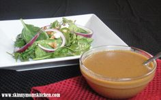 Skinny Mom's Kitchen says it's one of the best salad dressings you will ever eat! Creamy balsamic vinegar dressing. Greek yogurt, some pure maple syrup to give it a little sweet kick. Oh my! I will never buy salad dressing from the store again.