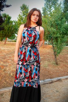 Maxi dress- Tribal print- Halter Dress- Colorful dress by MixeDesigns