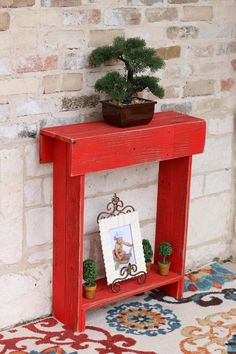 online shopping for Red Skinny Wall Table from top store. See new offer for Red Skinny Wall Table Rustic Entry Table, Farmhouse Table, Entry Tables, Iron Patio Furniture, Living Room Furniture, Table Furniture, Entryway Furniture, Special Pictures, Diy Desk