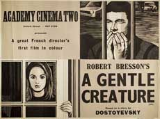 Posteritati: GENTLE CREATURE, A (Une femme douce) 1970 British 30x40 Robert Bresson, British, Creatures, Baseball Cards, Woman, England
