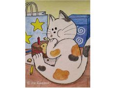 Art print of an original illustration of cat, Art for kids room and nursery, Cute cat, Cute animal Illustration, Wall art, Birthday art, 5x7...