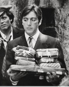 Al Pacino as Michael Corleone behind the scenes on the set of The Godfather.