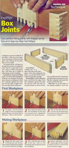 Box Joint Techniques - Joinery Tips, Jigs and Techniques | WoodArchivist.com Woodworking Joints, Easy Woodworking Projects, Woodworking Techniques, Teds Woodworking, Diy Wood Projects, Wood Jig, Serra Circular, Bois Diy, Box Joints