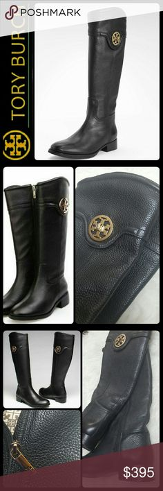 Tory Burch Leather Riding Boots Tory Burch Signature Black Leather Riding Boots! Tory's Most Sought Pair of Equestrian Style Knee Boots with Gold Tone Designer Emblem Logo!   Made in Brazil, About an Inch Heel! Leather Upper with Fabric Leather Lining! Rubber/ Leather Sole with Gold Tone Zipper Fastening Along Inner Side! Worn with Signs of Wear, Scuffs on Heel, Overall Mint Condition! Size 6M Tory Burch Shoes
