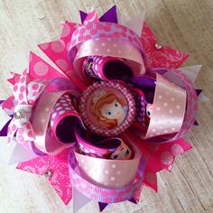 Sofia the First Over the Top Boutique Bow, Disney, Birthday, Pageant, Dance Accessories on Etsy, $10.00