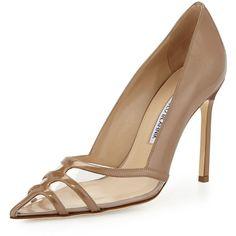"Manolo BlahnikGotria Metallic Point-Toe Pump, NudeDetailsManolo Blahnik metallic patent leather pump. 4"" covered stiletto heel. Strappy detail over clear PVC v…"